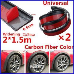 2X 6.5cm/1.5M Car Fender Flare Wheel Eyebrow Protector Lip Carbon Fiber Color