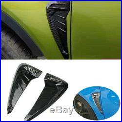 2x Black Side Wing Air Side Vent Trim Intake Fender Cover Flow Grille Sticker