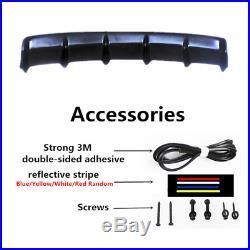 36.6x5 Matte Black Rear Shark Fin Style Curved Addon Bumper Lip Diffuser 6 Fin