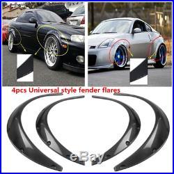 4X Black Carbon Fiber Style Eyebrow Arch Fender Flares Cover Trims Car Body Kit