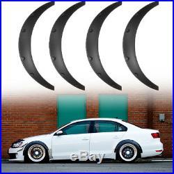 4x Universal Car Black Body Fender Flares Flexible Durable Polyurethane Size M