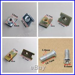 500pc Mixed Car Door Panel Fastener Fixed Screw U Type Gasket Fender Metal Clips