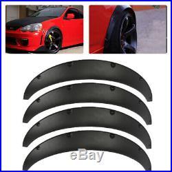 Black 4x Universal Car Body Fender Flares Flexible Durable Polyurethane Size M