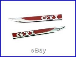 New Genuine VOLKSWAGEN GOLF Set Of Left And Right Side Fender GTI Chrome Badges