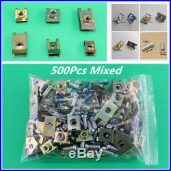 Universal 500pcs Mixed U Type Auto Fasteners Car Door Panel Fender Fixed Clips